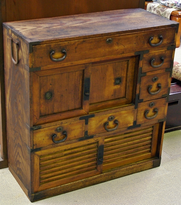 All of our pieces are sold in as original a condition as possible. We do  not use harmful acids to 'blonde' or bleach the wood to strip off any  colour or ... - Japanese Antique & Vintage Furniture (Chests - Tansu)