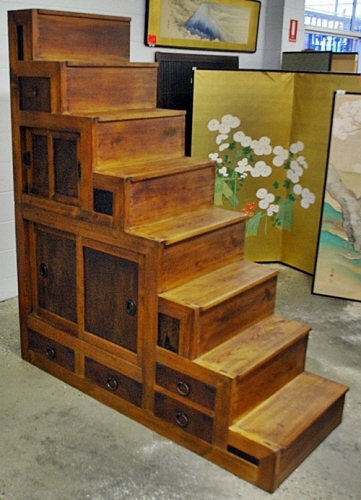 Japanese antique staircase or step chests tansu or for Oriental furniture adelaide